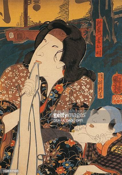 Actor in a pensive pose beside a child by Utagawa Kuniyoshi woodcut Japan Japanese Civilisation Meiji period 19th century
