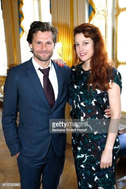"Actor in ""Edmond"", Kevin Garnichat and Nominated for ""Moliere de la Revelation Feminine"" for ""La Peur"", Helene Degy attend the 29th Molieres 2017 -..."