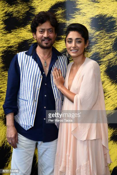 Actor Irrfan Khan and Actress Golshifteh Farahani pose during the 'The Song of Scorpions' photocall at the 70th Locarno Film Festival on August 9...