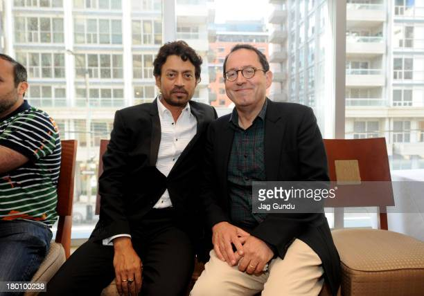 Actor Irrfan Khan and coPresident of Sony Pictures Classics Michael Barker attend the The Lunchbox Premiere during the 2013 Toronto International...