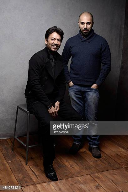 Actor Irrfan Khan and filmmaker Ritesh Batra pose for a portrait during the 2014 Sundance Film Festival at the WireImage Portrait Studio at the...