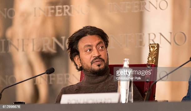 Actor Irrfan Khan attends the INFERNO Photo Call Press Conference at The Hall of the Five Hundred on October 6 2016 in Florence Italy