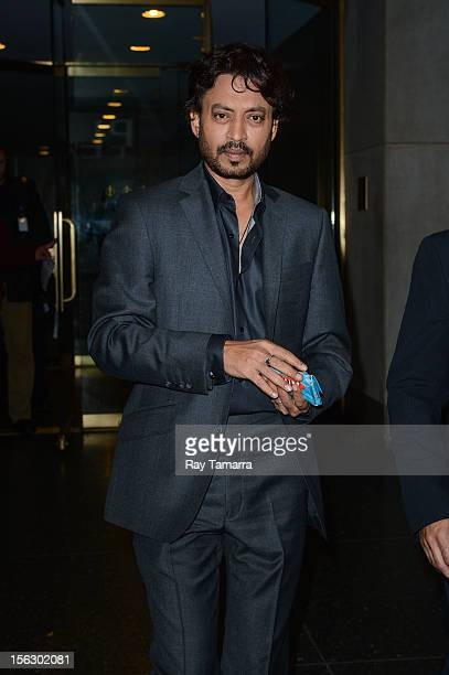 """Actor Irrfan Khan leaves the """"Today Show"""" taping at the NBC Rockefeller Center Studios on November 12, 2012 in New York City."""