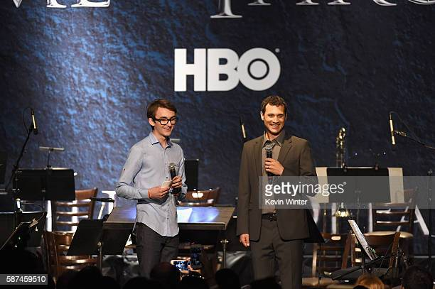 Actor Isaac Hempstead Wright and composer Ramin Djawadi speak onstage during the announcement of the Game of Thrones® Live Concert Experience...