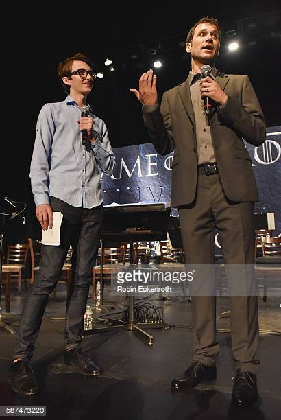 Actor Isaac Hempstead Wright and composer Ramin Djawadi speak onstage at HBO's Game Of Thrones Live Concert and QA at Hollywood Palladium on August 8...