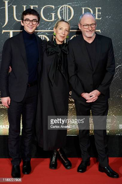Actor Isaac Hempstead-Wright , designer Michele Clapton and actor Liam Cunningham attend 'Game Of Thrones' official exhibition presentation at IFEMA...