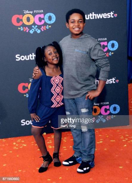 Actor Isaac Ryan Brown and his sister attend the US Premiere of Disney Pixar's 'Coco' at El Capitan Theatre on November 8 2017 in Los Angeles...