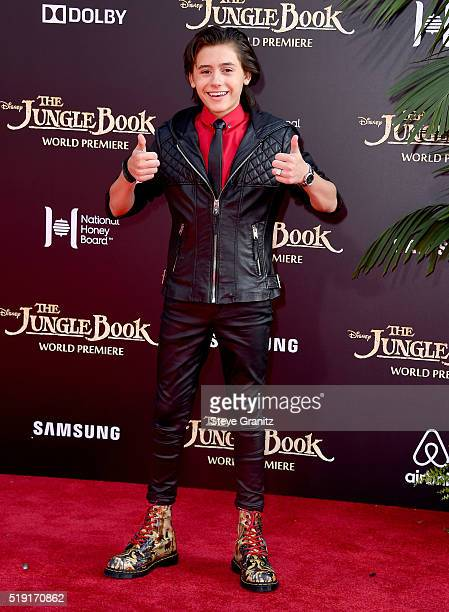 Actor Isaak Presley attends the premiere of Disney's The Jungle Book at the El Capitan Theatre on April 4 2016 in Hollywood California