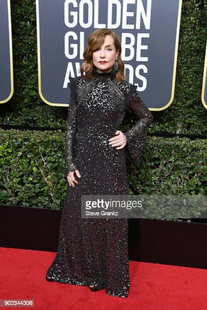 Actor Isabelle Huppert attends The 75th Annual Golden Globe Awards at The Beverly Hilton Hotel on January 7 2018 in Beverly Hills California