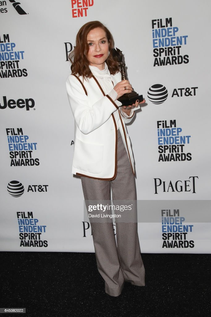 Actor Isabelle Huppert, winner of the Best Female Lead award for 'Elle,' poses in the press room during the 2017 Film Independent Spirit Awards on February 25, 2017 in Santa Monica, California.