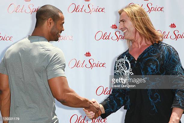 Actor Isaiah Mustafa and model Fabio attend Old Spice's 'Manly Man' event at The Grove on July 28 2011 in Los Angeles California
