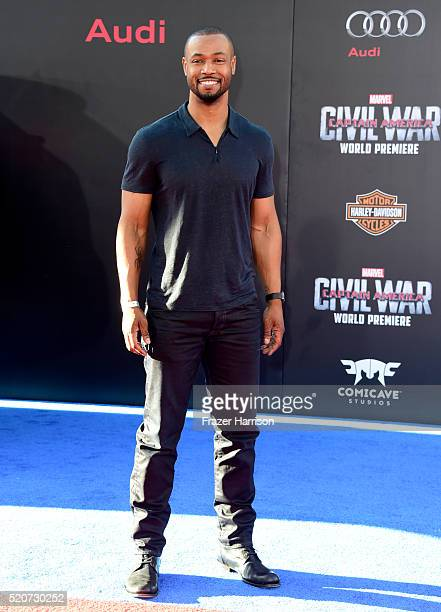 Actor Isaiah Mustafa attends the premiere of Marvel's 'Captain America Civil War' at Dolby Theatre on April 12 2016 in Los Angeles California