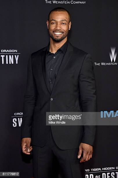 Actor Isaiah Mustafa attends the premiere of Netflix's Crouching Tiger Hidden Dragon Sword Of Destiny at AMC Universal City Walk on February 22 2016...