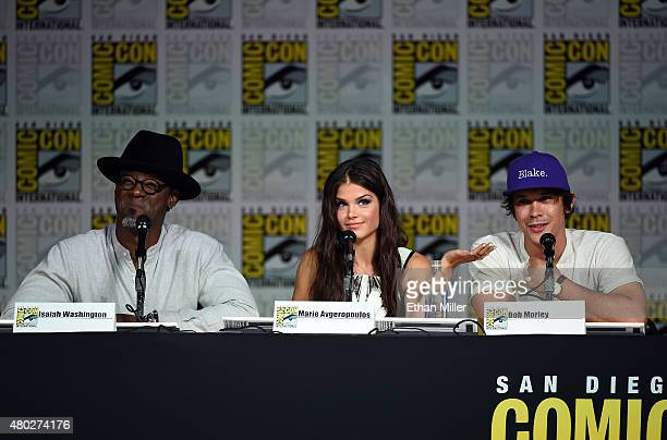 Actor Isaiah Washington actress Marie Avgeropoulos and actor Bob Morley attend a special video presentation and panel for The 100 during ComicCon...