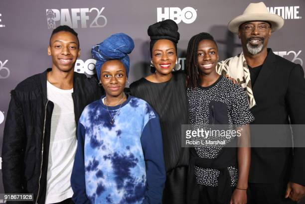 Actor Isaiah Washington wife Jenisa Marie Garland and family attend the Pan African Film Festival Red Carpet and Screening of the Black Panther Movie...