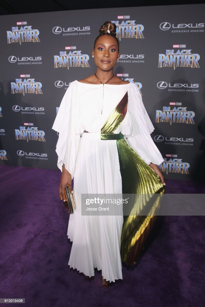 Actor Issa Rae at the Los Angeles World Premiere of Marvel Studios' BLACK PANTHER at Dolby Theatre on January 29, 2018 in Hollywood, California.