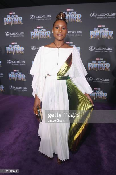 Actor Issa Rae at the Los Angeles World Premiere of Marvel Studios' BLACK PANTHER at Dolby Theatre on January 29 2018 in Hollywood California