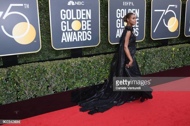 Actor Issa Rae attends The 75th Annual Golden Globe Awards at The Beverly Hilton Hotel on January 7 2018 in Beverly Hills California
