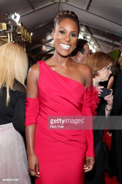 Actor Issa Rae walks the red carpet during the 69th Annual Primetime Emmy Awards at Microsoft Theater on September 17 2017 in Los Angeles California