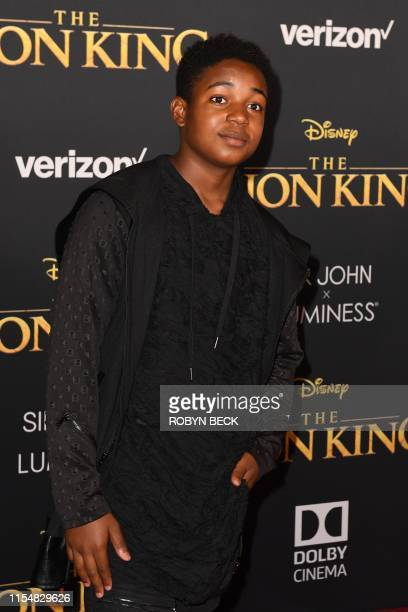 US actor Issac Ryan Brown arrives for the world premiere of Disney's The Lion King at the Dolby theatre on July 9 2019 in Hollywood
