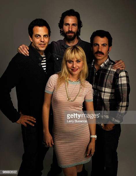 Actor Ivan Martin director Dana Adam Shapiro Chris Messina and Meital Dohan from the film Monogamy attend the Tribeca Film Festival 2010 portrait...