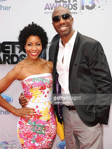 Actor J B Smoove and wife Shahidah Omar attend the 2013 BET Awards at Nokia Theatre LA Live on June 30 2013 in Los Angeles California