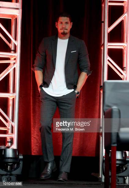 Actor J D Pardo walks onstage at the 'Mayans MC' panel during the FX Network portion of the Summer 2018 TCA Press Tour at The Beverly Hilton Hotel on...