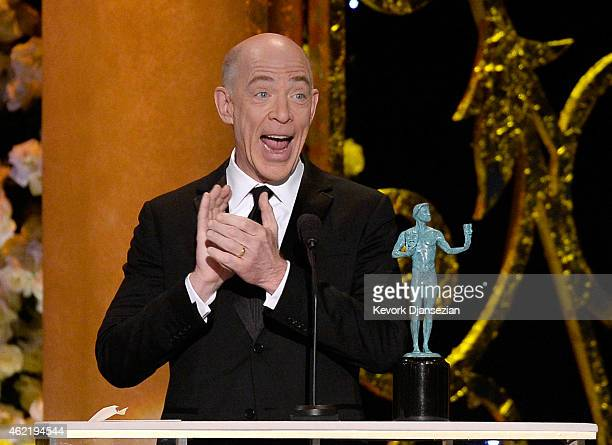 Actor J. K. Simmons accepts the award for Outstanding Performance by a Male Actor in a Supporting Role at the 21st Annual Screen Actors Guild Awards...