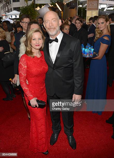 Actor J K Simmons and Michelle Schumacher attend the 73rd annual Golden Globe Awards sponsored by FIJI Water at The Beverly Hilton Hotel on January...