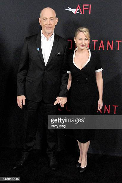 Actor J K Simmons and wife Michelle Schumacher attend the premiere of Warner Bros Pictures' 'The Accountant' at TCL Chinese Theatre on October 10...