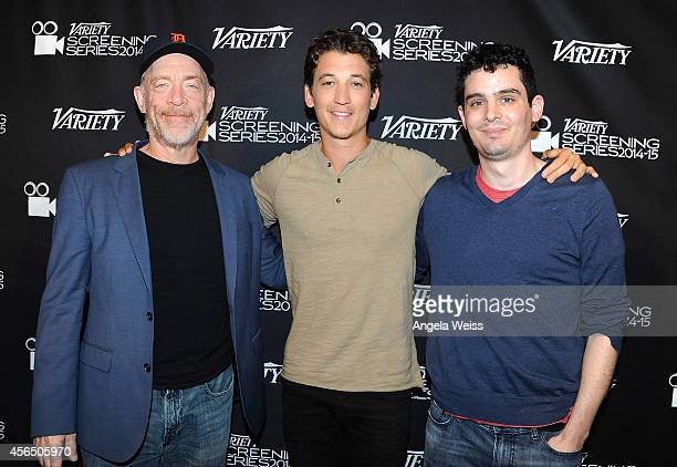 Actor J K Simmons Miles Teller and writer/director Damien Chazelle attend the 2014 Variety Screening Series Whiplash Screening at Landmark Theatre on...
