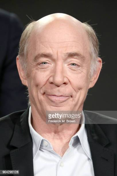 Actor J K Simmons of 'Counterpart' speaks onstage during the Starz portion of the 2018 Winter Television Critics Association Press Tour at The...