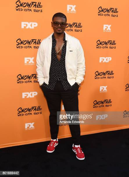 Actor J Mallory McCree arrives at the premiere of FX's 'Snowfall' at The Theatre at Ace Hotel on June 26 2017 in Los Angeles California