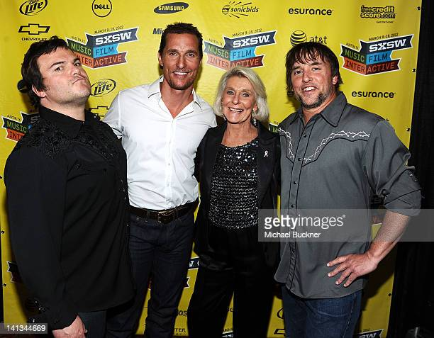 Actor Jack Black actor Matthew McConaughey actress Kay McConaughey and director Richard Linklater attend the world premiere of Bernie during the 2012...
