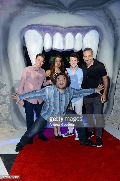 Actor Jack Black actor Ryan Lee actress Odeya Rush actor Dylan Minnette and director Rob Letterman attend 'Goosebumps' photo call during Summer Of...
