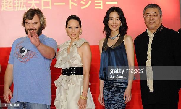 """Actor Jack Black, actress Lucy Liu, actress Yoshino Kimura and actor Akira Nakao attend the """"Kung Fu Panda"""" Japan Premiere at Shinjuku Piccadilly on..."""