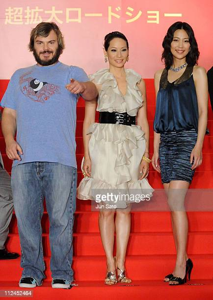 "Actor Jack Black, actress Lucy Liu and actress Yoshino Kimura attend the ""Kung Fu Panda"" Japan Premiere at Shinjuku Piccadilly on July 14, 2008 in..."