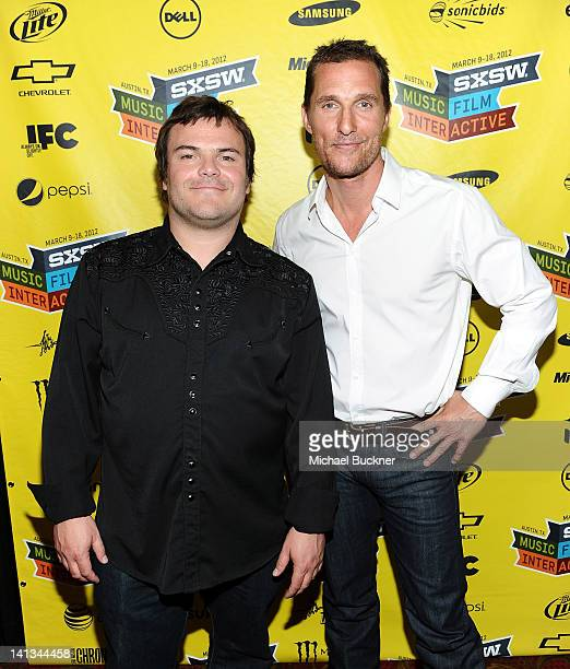 Actor Jack Black and actor Matthew McConaughey attend the world premiere of Bernie during the 2012 SXSW Music Film Interactive Festival at Paramount...