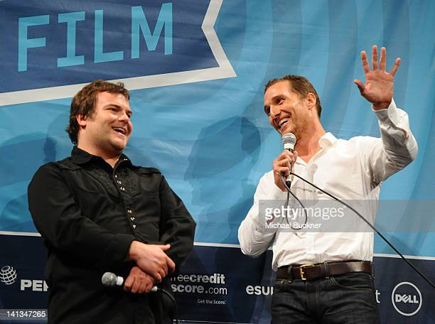 Actor Jack Black and actor Matthew McConaughey speak at the QA for Bernie during the 2012 SXSW Music Film Interactive Festival at Paramount Theatre...