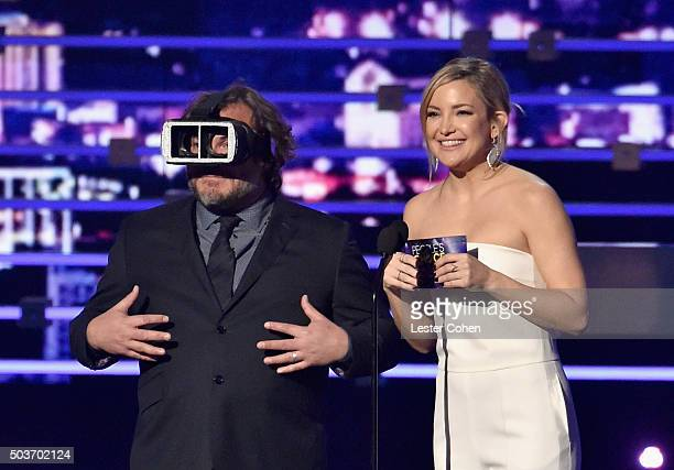 Actor Jack Black and actress Kate Hudson speak onstage during the People's Choice Awards 2016 at Microsoft Theater on January 6 2016 in Los Angeles...