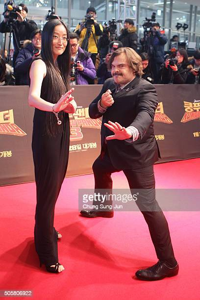 Actor Jack Black and director Jennifer Yuh attend the premiere for 'Kung Fu Panda 3' on January 20 2016 in Seoul South Korea Jack Black and Jennifer...