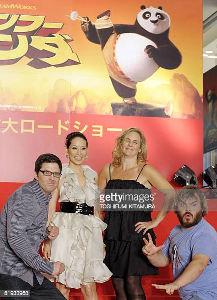 US actor Jack Black and film director Mark Osborne display Kung Fu moves during a photo session with US actress Lucy Liu and producer Melissa Cobb to...