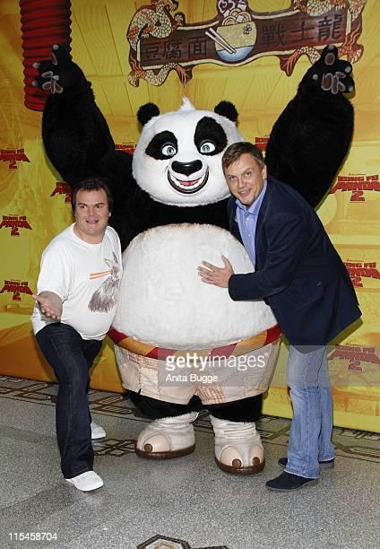 US actor Jack Black and German actor Hape Kerkeling attend the 'Kung Fu Panda 2' photocall at Hotel de Rome on June 7 2011 in Berlin Germany