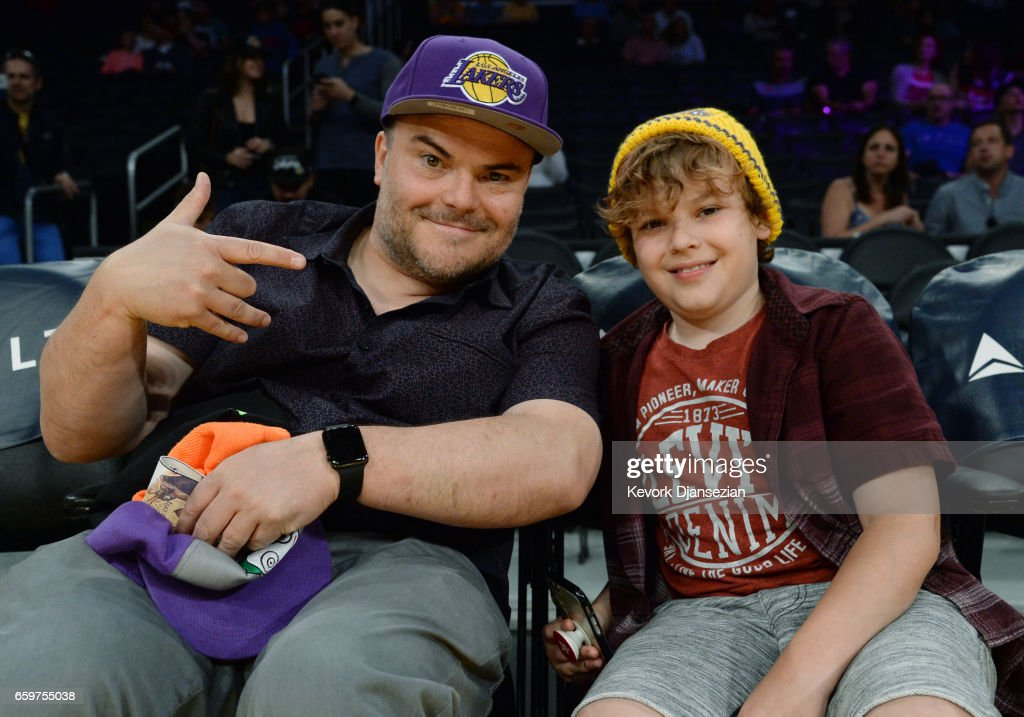 Actor Jack Black and his son Samuel Black attend Washington Wizards and Los Angeles Lakers basketball game at Staples Center March 28 2017, in Los Angeles, California.