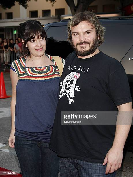 Actor Jack Black and his wife Tanya Haden arrive at the premiere of Columbia Picture's Pineapple Express at the Mann Village Theater on July 31 2008...