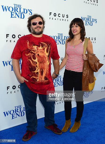 Actor Jack Black and his wife Tanya Haden pose arrival for the LA Premiere of the film 'The World's End' in Hollywood California on August 21 2013...