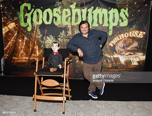 """Actor Jack Black and Slappy attend the photo call for Sony Pictures Entertainment's """"Goosebumps"""" at The London West Hollywood on October 2, 2015 in..."""