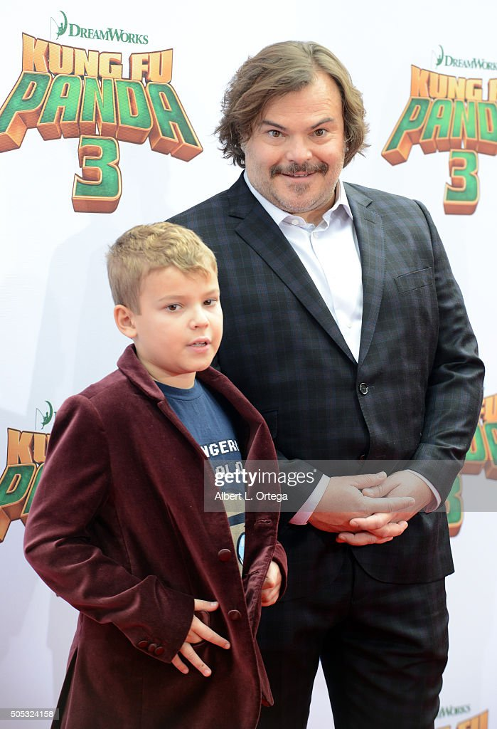 Actor Jack Black and son arrive for the Premiere Of DreamWorks Animation And Twentieth Century Fox's 'Kung Fu Panda 3' held at TCL Chinese Theatre on January 16, 2016 in Hollywood, California.