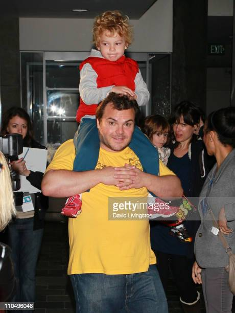 Actor Jack Black and son Samuel Black and wife Tanya Haden and son Thomas Black attend the 2nd Annual Milk Bookies Story Time Celebration at the...