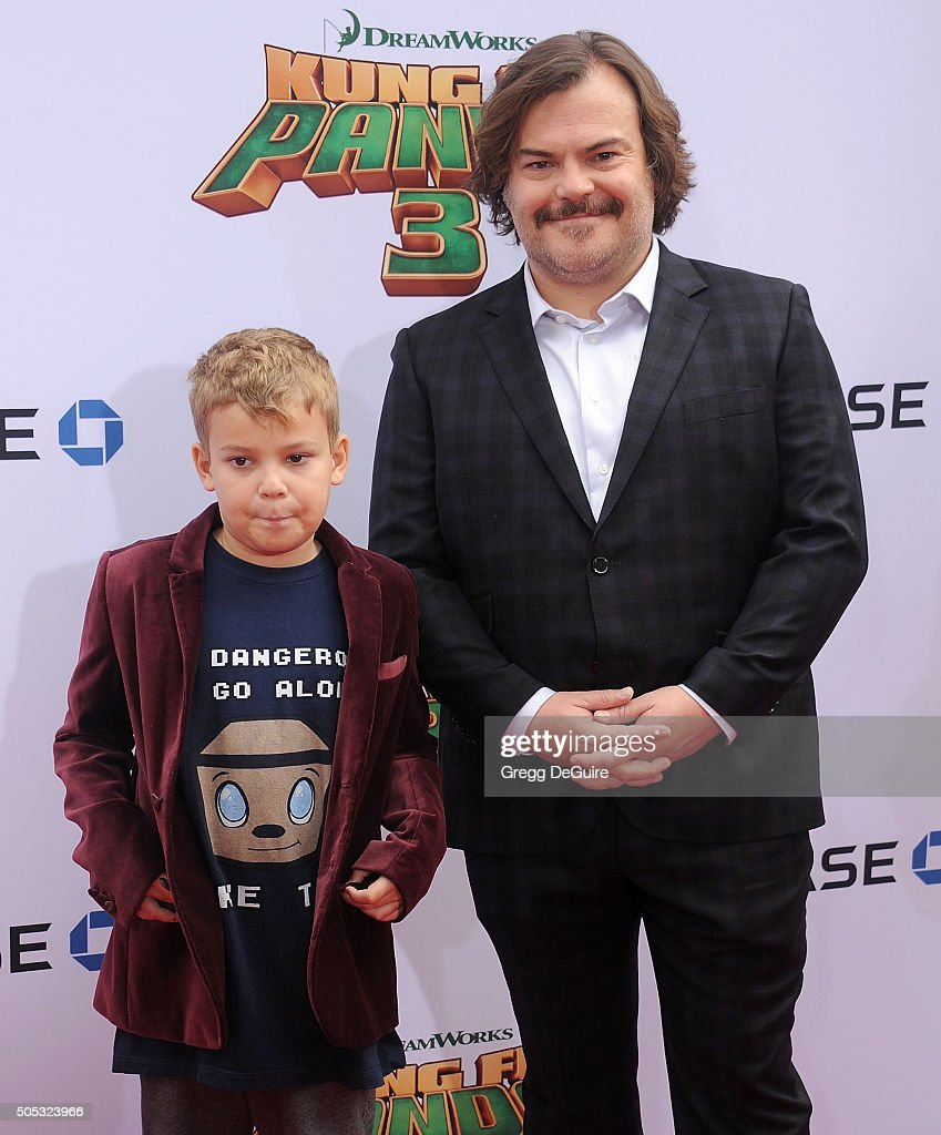 Actor Jack Black and son Samuel Jason Black arrive at the premiere of 20th Century Fox's 'Kung Fu Panda 3' at TCL Chinese Theatre on January 16, 2016 in Hollywood, California.